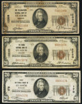 National Bank Notes:Missouri, Saint Louis, MO - $20 1929 Ty. 1 First NB Ch. # 170 Very Fine; $201929 Ty. 1 The Grand NB Ch. # 12220 Fine; ... (Total: 3 notes)