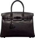 Luxury Accessories:Bags, Hermès Limited Edition 30cm Matte So Black Niloticus Crocodile Birkin Bag with PVD Hardware. N Square, 2010. Condition...