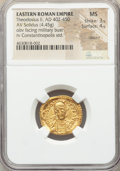 Ancients:Roman Imperial, Ancients: Theodosius II (AD 402-450). AV solidus (21mm, 4.45 gm,6h). NGC MS 3/5 - 4/5, clipped....