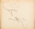 "Animation Art:Production Drawing, Fantasia ""Rite of Spring"" Dinosaur Animation Drawing Original Art (Walt Disney, 1940)...."