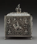 Other, An Anglo-Indian Silver Tea Caddy With Figural Finial, circa 1900. 5-1/2 x 4-3/8 x 2-1/4 inches (14.0 x 11.1 x 5.7 cm). 11.67...