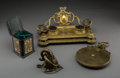 Other, Four Various Desk Items Including English Leather, Silver, and Celluloid Bridge Card Case, early 20th century and later. 5-3... (Total: 4 Items)