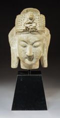Asian:Chinese, A Chinese Carved Stone Guanyin Head on Plinth. 12-1/4 inches (31.1 cm) (head). 20 inches (50.8 cm) (overall, including stand...