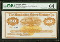 Obsoletes By State:Nevada, Austin, NV- Manhattan Silver Mining Co. $20 187_ Remainder PMG Choice Uncirculated 64.. ...