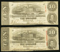 Confederate Notes:1863 Issues, T59 $10 1863 PF-18, -33. Cr. 436; Cr. 435 Very Good-Fine.. ...(Total: 2 notes)