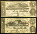 Confederate Notes:1863 Issues, T60 $5 1863 PF-4 Cr. 450. Two Examples. Fine.. ... (Total: 2 notes)