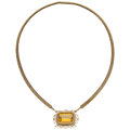 Estate Jewelry:Necklaces, Citrine, Seed Pearl, Gold Convertible Necklace. ...