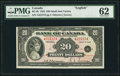 Canadian Currency, BC-9b $20 1935 English Small Seal PMG Uncirculated 62.. ...