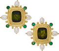 Estate Jewelry:Earrings, Tourmaline, Chrysoprase, Freshwater Cultured Pearl, Gold Earrings ....