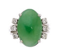 Estate Jewelry:Rings, Jadeite Jade, Diamond, White Gold Ring . ...