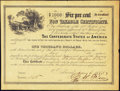 Confederate Notes:Group Lots, Ball 366 Cr. 154 $1000 1864 Six Per Cent Non Taxable Certificate Remainder Very Fine.. ...