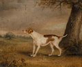 Fine Art - Painting, European:Antique  (Pre 1900), John Vine of Colchester (British, 1805-1867). A hunting dog in alandscape. Oil on canvas. 9-3/4 x 11-1/2 inches (24.8 x...