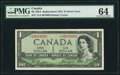 Canadian Currency, BC-29bA $1 1954 Devil's Face Replacement PMG Choice Uncirculated64.. ...