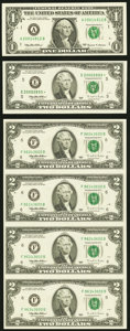 Federal Reserve Notes with Informational Folders Five Items