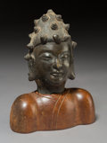 Asian:Chinese, A Chinese Bronze Buddha's Head on Hardwood Stand. 5-1/2 inches(14.0 cm) (head). ... (Total: 2 Items)