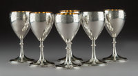Six Gorham Mfg. Co. Partial Gilt Silver Goblets, Providence, Rhode Island, 1872 Marks: (lion-anchor-G), STERLIN