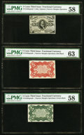 Fractional Currency:Third Issue, Fr. 1236SP 5¢ Narrow Margin Face PMG Choice About Uncirculated 58. Fr. 1236SP 5¢ Narrow Margin Red Back PMG Choice Uncircu... (Total: 3 notes)