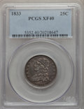 Bust Quarters: , 1833 25C XF40 PCGS. PCGS Population: (51/143). NGC Census: (11/122). XF40. Mintage 156,000. ...