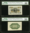 Fractional Currency:Third Issue, Fr. 1255SP 10¢ Third Issue Wide Margin Face PMG Gem Uncirculated 66 EPQ. Fr. 1255SP 10¢ Third Issue Wide Margin Green Back... (Total: 2 notes)