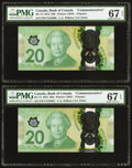 Canadian Currency, BC-74 $20 2015, Two Consecutive Examples PMG Superb Gem Unc 67 EPQ.. ... (Total: 2 notes)