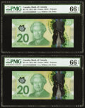 Canadian Currency, BC-71b $20 2012, Two Consecutive Examples PMG Gem Uncirculated 66 EPQ.. ... (Total: 2 notes)