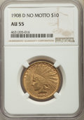 Indian Eagles: , 1908-D $10 No Motto AU55 NGC. NGC Census: (82/945). PCGS Population: (171/987). CDN: $775 Whsle. Bid for problem-free NGC/P...