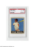 Baseball Cards:Singles (1940-1949), 1948 Leaf Stan Musial #4 PSA VG-EX 4. Strong example from thispopular set....
