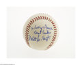 Autographs:Baseballs, Early 1970's Waite Hoyt Single Signed Baseball from The Ricky andBruce Collection. Strong 9/10 inscription on the side pan...