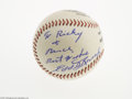 Autographs:Baseballs, 1970's Edd Roush and Lloyd Waner Signed Baseball from The Ricky andBruce Collection. Flawless 10/10 inscription on the sid...