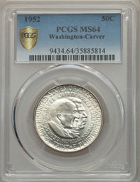 1952 50C Washington-Carver MS64 PCGS Secure. PCGS Population: (2664/2194 and 16/70+). NGC Census: (1888/1742 and 2/22+)...