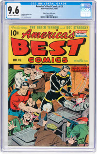 America's Best Comics #15 Mile High Pedigree (Nedor Publications, 1945) CGC NM+ 9.6 Off-white to white pages
