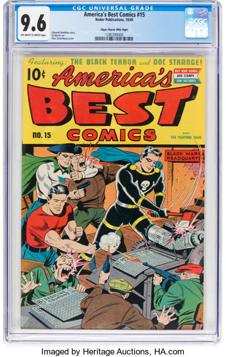 America's Best Comics #15 Mile High Pedigree (Nedor Publications, 1945) CGC NM+ 9.6 Off-white to white pages....