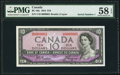 Canadian Currency, Serial Number 1 BC-40a $10 1954 PMG Choice About Unc 58 EPQ.. ...