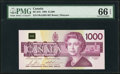 Canadian Currency, BC-61b $1000 1988 PMG Gem Uncirculated 66 EPQ.. ...