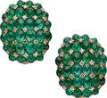 Estate Jewelry:Earrings, Emerald, Diamond, Gold Earrings, Giované. ...
