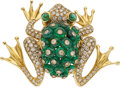 Estate Jewelry:Brooches - Pins, Diamond, Emerald, Gold Brooch, Giované. ...