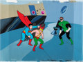 Animation Art:Production Cel, The Superman/Aquaman Hour of Adventure Superboy, Hawkman,and Green Lantern Production Cel Setup on Production Backgro...