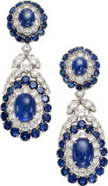 Estate Jewelry:Earrings, Sapphire, Diamond, Platinum Earrings, Van Cleef & Arpels. ...