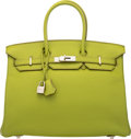 "Luxury Accessories:Bags, Hermès 35cm Vert Anis Clemence Leather Birkin Bag with PalladiumHardware. L Square, 2008. Condition: 3. 14""Width..."
