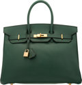 "Luxury Accessories:Bags, Hermès 35cm Vert Anglais Togo Leather Birkin Bag with Gold Hardware. F Square, 2002. Condition: 3. 14"" Width x 10""..."