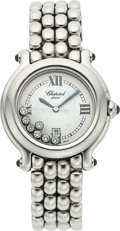 Estate Jewelry:Watches, Chopard Lady's Diamond, Sapphire, Happy Sport Stainless Steel Watch . ...