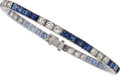 Estate Jewelry:Bracelets, Art Deco Diamond, Sapphire, Platinum, White Gold Bracelet . ...