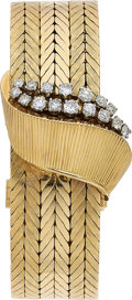 Estate Jewelry:Watches, Gübelin Lady's Diamond, Gold Covered Dial Convertible Brooch-Watch. ...