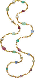 Estate Jewelry:Necklaces, South Sea Cultured Pearl, Multi-Stone, Gold Necklace, David Webb. ...