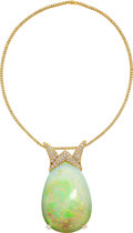 Estate Jewelry:Necklaces, Opal, Colored Diamond, Diamond, Gold Pendant-Necklace . ...
