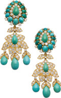 Estate Jewelry:Earrings, Turquoise, Diamond, Gold Earrings, David Webb. ...