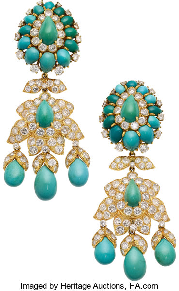 Estate Jewelry Earrings Turquoise Diamond Gold David Webb