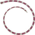 Estate Jewelry:Necklaces, Diamond, Pink Sapphire, White Gold Necklace. ...
