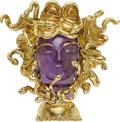 Estate Jewelry:Brooches - Pins, Amethyst, Gold Brooch. ...