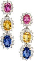 Estate Jewelry:Earrings, Sapphire, Diamond, Platinum, Gold Earrings, Oscar Heyman Bros.. ...